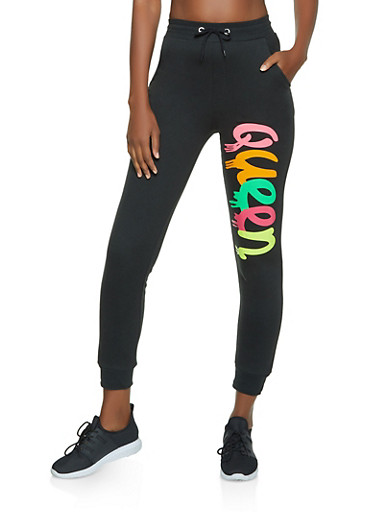 Queen Drip Joggers,BLACK,large