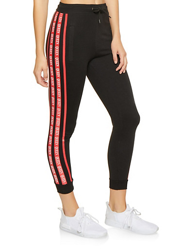 Queen Graphic Trim Sweatpants,BLACK,large