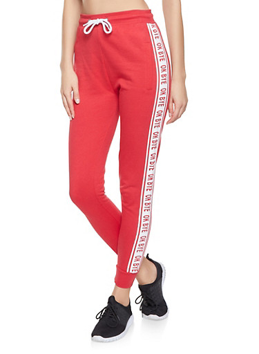 Graphic Tape Joggers,RED,large