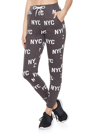 NYC Graphic Joggers,CHARCOAL,large