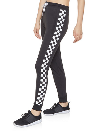 Checkered Side Joggers,BLACK,large