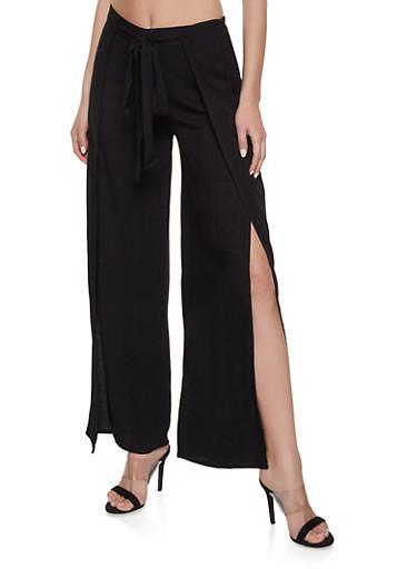 Tie Front Open Leg Palazzo Pants,BLACK,large