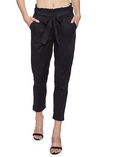 Paper Bag Waist Pants,BLACK,large
