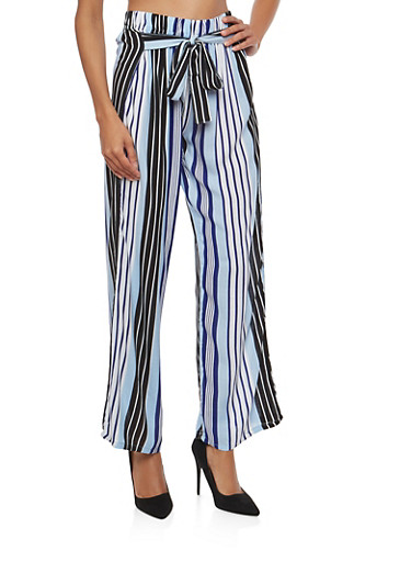 Printed Tie Front Palazzo Pants,NAVY STRIPE,large