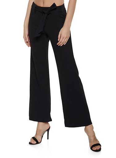 Tie Front Flared Pants,BLACK,large