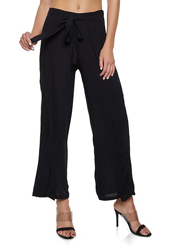 Tie Front Overlay Palazzo Pants,BLACK,large