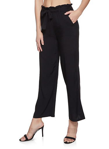 Tie Front Paper Bag Waist Pants,BLACK,large