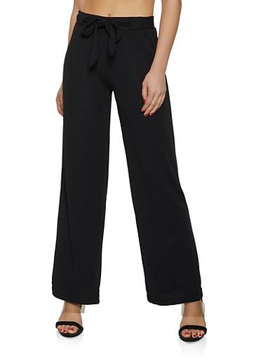 Crepe Knit Tie Front Dress Pants,BLACK,large