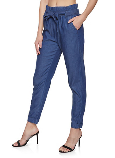 Chambray Paper Bag Waist Pants,MEDIUM WASH,large