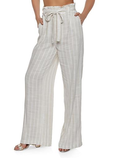 Tie Waist Striped Paper Bag Waist Pants,KHAKI,large