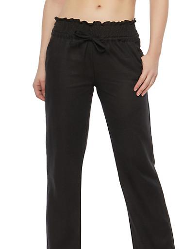 Smocked Waist Linen Pants,BLACK,large