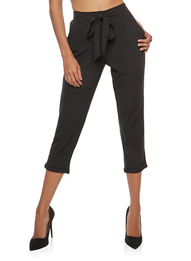 High Waisted Crepe Knit Cuffed Pants,BLACK,large