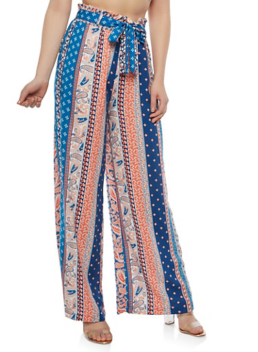 Printed Palazzo Pants with Belt,NAVY,large