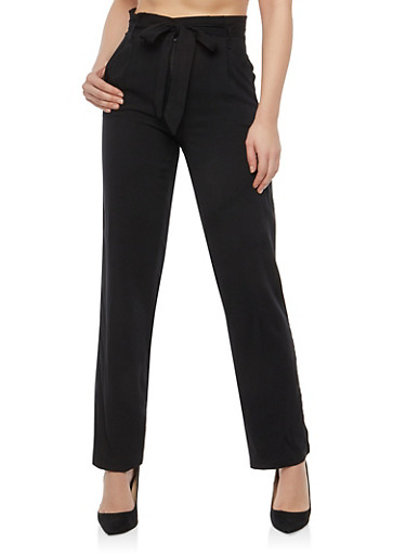 Belted Wide Leg Trousers,BLACK,large