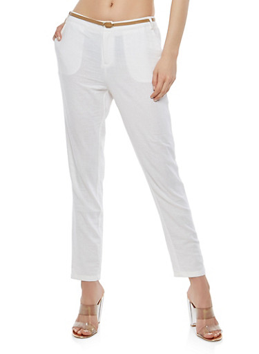 Belted Linen Pants,WHITE,large