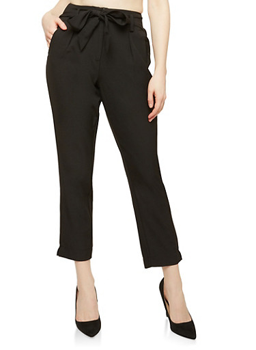 Tie Front Dress Pants,BLACK,large