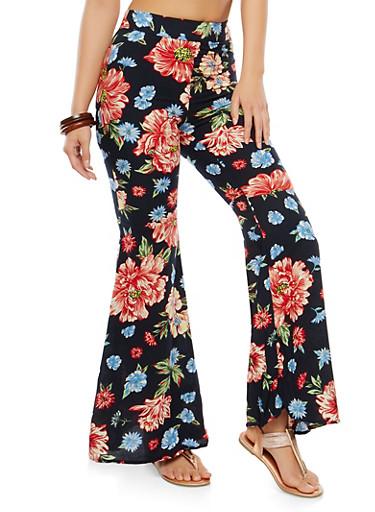 Floral Bell Bottom Pants,BLACK,large