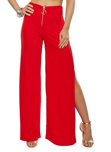 Split Leg Palazzo Pants,RED,large