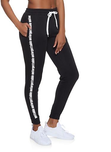 Graphic Trim Sweatpants,BLACK,large