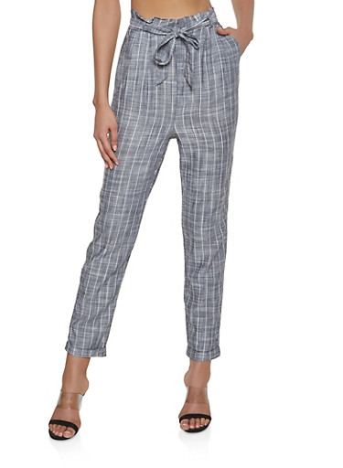 Belted Striped Linen Pants,GRAY,large