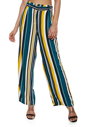 Belted Striped Palazzo Pants,TEAL,large