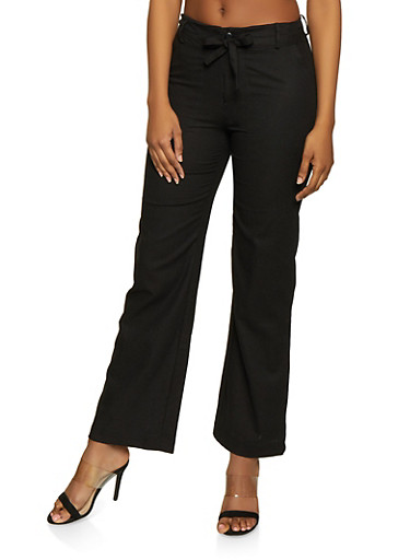 Tie Waist Linen Pants,BLACK,large