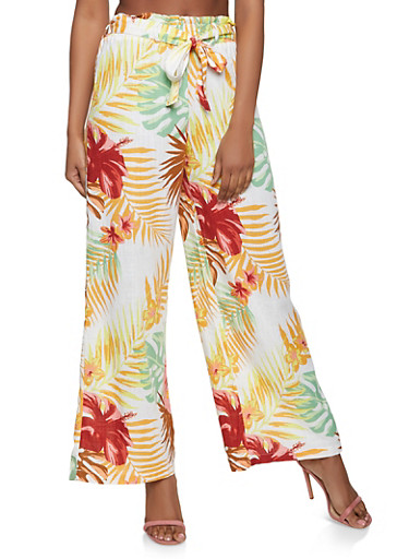 Floral Tie Waist Linen Palazzo Pants,IVORY,large