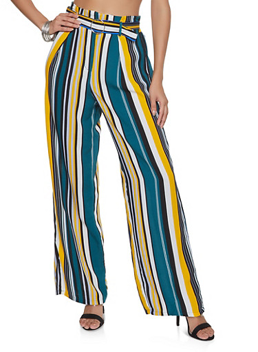 Striped Belted Palazzo Pants,TEAL,large