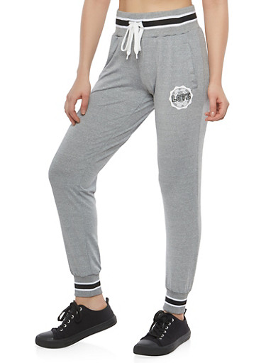 Love Graphic Sweatpants,HEATHER,large