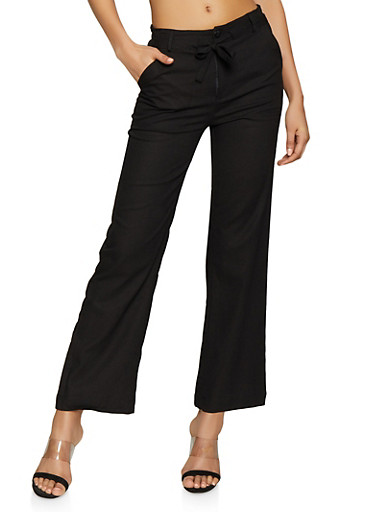 Tie Front Linen Pants,BLACK,large