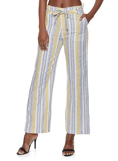 Striped Tie Front Linen Pants,IVORY,large