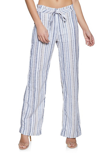 Striped Tie Waist Wide Leg Pants,GRAY,large