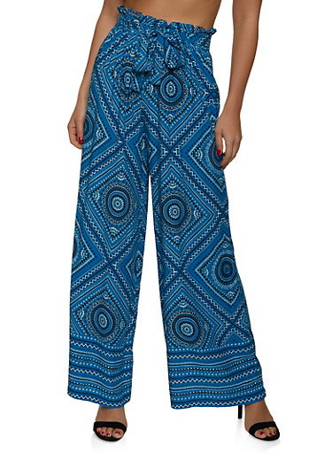 Paper Bag Waist Printed Palazzo Pants,RYL BLUE,large