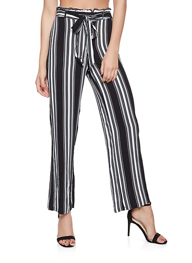 Striped Palazzo Pants,BLACK/WHITE,large
