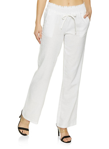 Solid Smocked Waist Linen Pants,WHITE,large