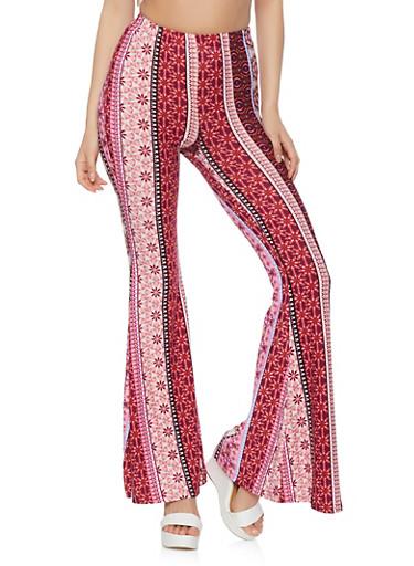 Border Print Flare Pants,FUCHSIA,large