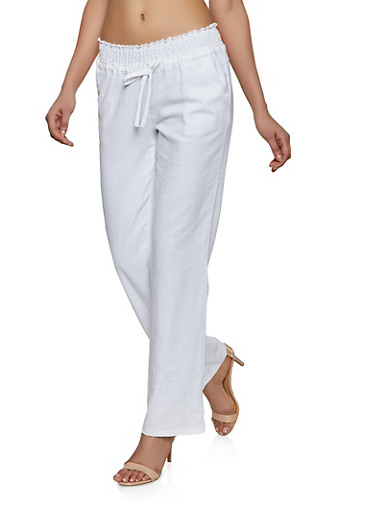 Drawstring Smocked Waist Linen Pants,WHITE,large