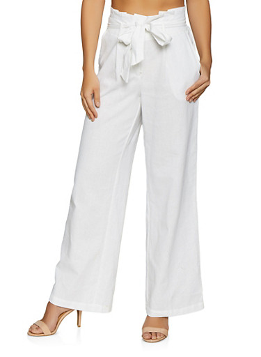 Paper Bag Waist Linen Pants,WHITE,large