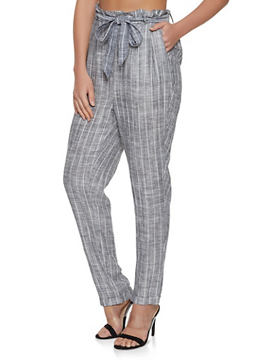 Linen Striped Pants,GRAY,large