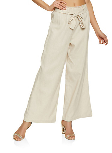 Paper Bag Tie Waist Linen Pants,KHAKI,large