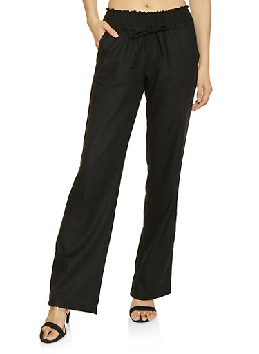 Smocked Waist Linen Pants,BLACK,large