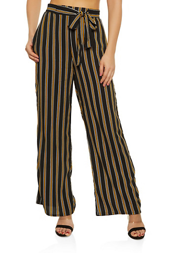 Striped Tie Front Palazzo Pants | 1061054261211,BLACK,large