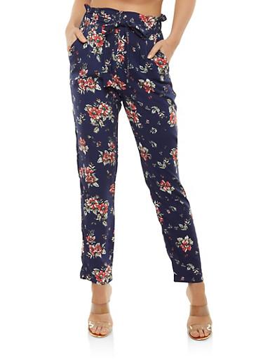 Floral Paper Bag Waist Pants,NAVY,large