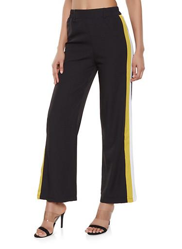 Crepe Knit Side Stripe Trim Pants,BLACK,large