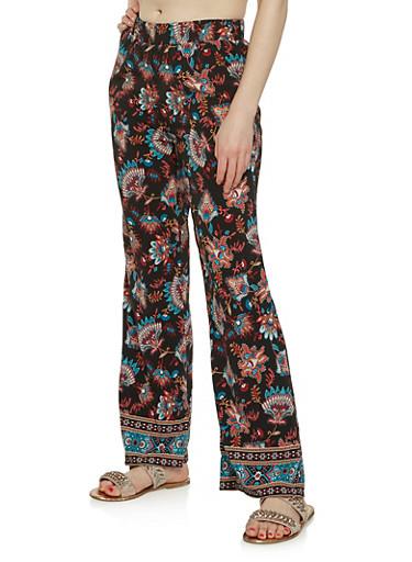 Printed Flared Pants,BLACK,large