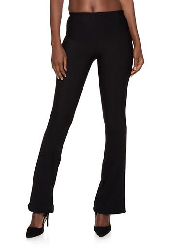 Rib Knit Flared Pants | 1061062129025,BLACK,large