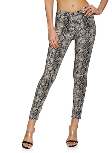 Pull On Snake Print Stretch Pants,GRAY,large