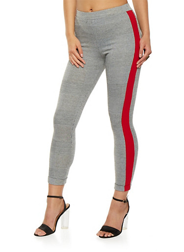 Side Stripe Plaid Leggings,GRAY,large