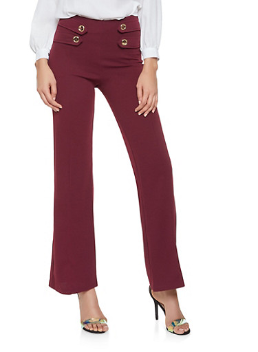 Crepe Knit Flared Dress Pants by Rainbow