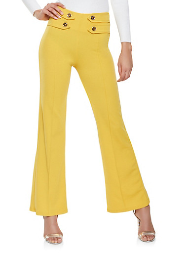 Crepe Knit Flared Dress Pants,MUSTARD,large